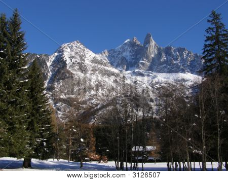 Aiguille Verte And Drus View From Chamonix
