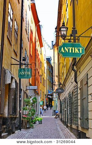 The Street Of The Old Town (gamla Stan) In Stockholm