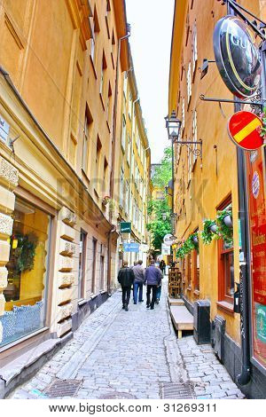 Along The Street Of The Old Town In Stockholm