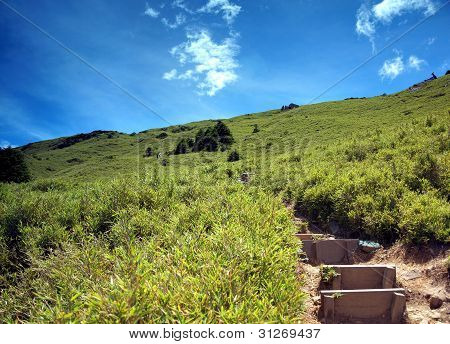 Steep Path To The Top Of A Mountain