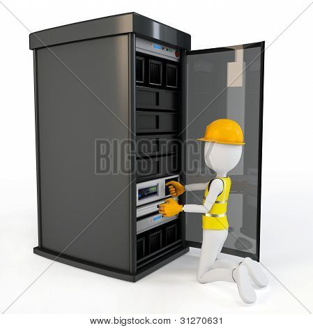 3D Man Worker With Server Rack