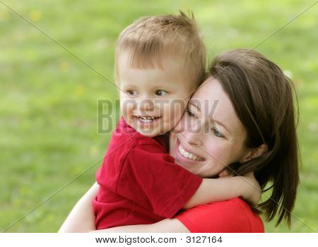 Mother And Son Smiling Portrait