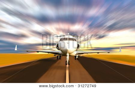 Private Jet Plane Taking Off With Motion Blur