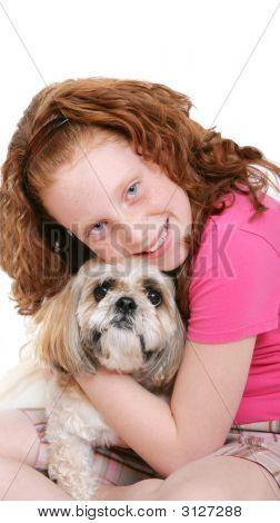 Girl And Dog Over White