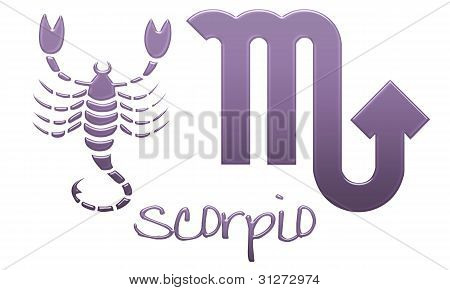 Scorpio Zodiac Signs - Purple Plastic