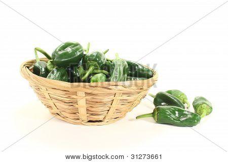 Raw Green Pimientos In A Bowl