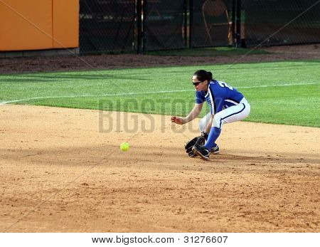 College Softball Player Fielding Groundball