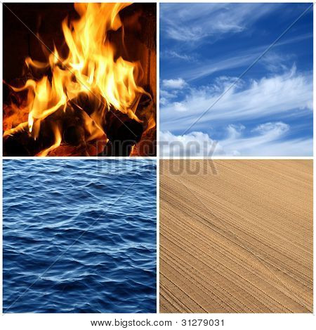 Fire, Water, Air, Earth. Four Elements.