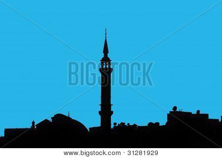 """Silhouette von einem Minarett entlang dem nil Fluss-Ã""""gypten"""