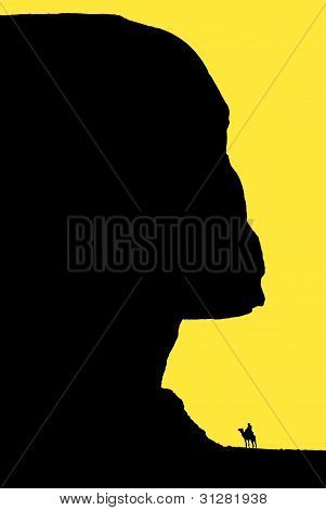 Nice Sphinx silhouette black on yellow image