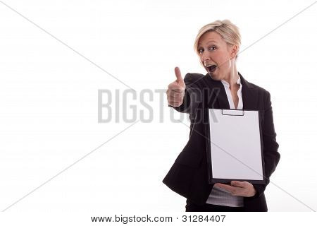 Secretary With A Notepad Lifts Thumb