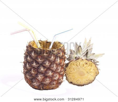 Pineapple With Straws