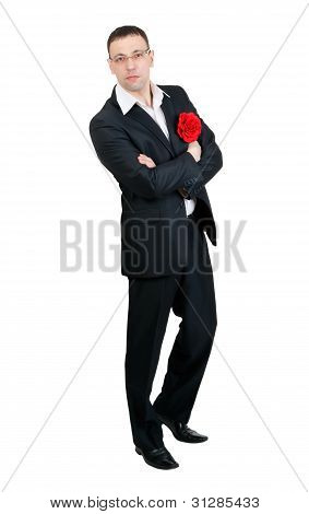 A Man With A Tango Dancer In Red Fabric Flower In His Jacket Pocket