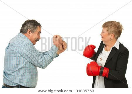 Mature Business People Having Confrontation