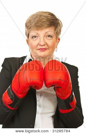 Mature Business Woman With Boxing Gloves