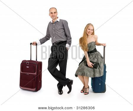 Young Business Man And Woman With Luggage Bag