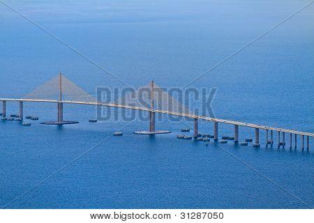 Aerial View Of Sunshine Skyway Bridge, Florida