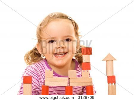 Happy Girl With Wooden Blocks
