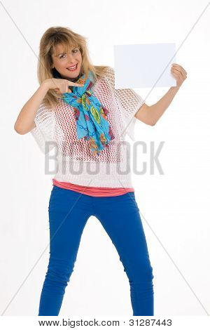 Fashionable Woman with sign