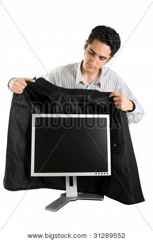 Successful Businessman Buy Monitor.