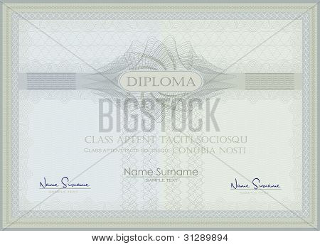 Diploma Guilloche Blue Green