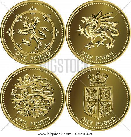 Vetor definido dinheiro britânico uma libra de moeda de ouro