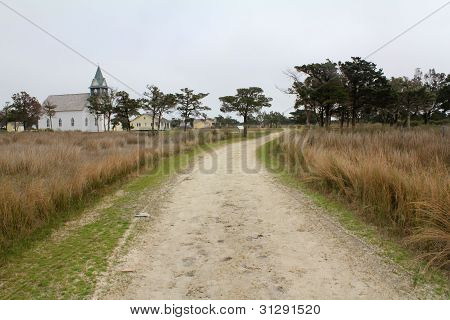 Old Church On Dirt Road