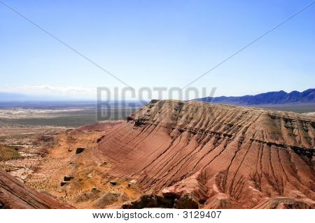 Paleontology Mountain Aktau And Sandstone In Desert In Hot Day , Asia,  View From Top