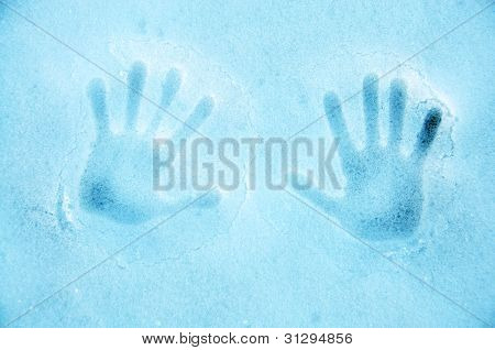 Snow texture with hands print