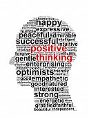 image of idealistic  - Positive thinking info text graphic and arrangement concept on white background  - JPG