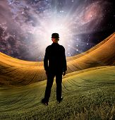 Explosion of imagination. Man in black suit stands before bright light in surreal landscape. 3D rend poster