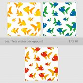 Cute Childrens Illustration Of Fish For Packaging, Textiles, Decor, Decor. Set Vector Seamless Backg poster