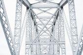Metal Steel Railway Bridge. Connecting Structure Over The Railway. Metallic Connecting Beams Interse poster