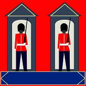 stock photo of guardsmen  - Guardsmen Background two guards in their sentry boxes - JPG