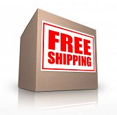 stock photo of ship  - A cardboard box on an angle with a sticker reading Free Shipping telling you that you can ship your ordered merchandise or products for no extra cost from an online store or catalog - JPG