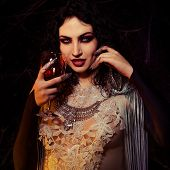 Vampire Halloween Woman portrait. Beauty Sexy Vampire Girl with drinking blood on her glass of wine. poster
