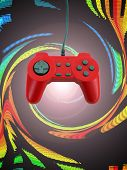 stock photo of video game controller  - A red game controller isolated over white with plenty of copy space - JPG