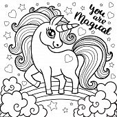 Magic Animal Horse For Children. Unicorn Fabulous. Cute Cartoon Black And White Vector Illustration  poster