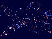 American Patriot Day Stars Background. Holiday Confetti In Us Flag Colors For Patriot Day.  Cool Red poster