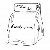 Lunch Box, Lunch Bag Illustration. La La Lunch Vector Hand Drawn Sketch Cartoon poster