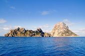 Es Vedra islet and Vedranell islands in blue Mediterranean Spain
