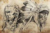 image of indian chief  - Tattoo sketch of American Indian warriors - JPG