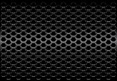 Abstract Black Metallic Hexagon Mesh Pattern Design Modern Futuristic Background Vector Illustration poster