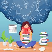 Girl Prepare To Exam. Young Woman Sitting Read Book And Thinking About Formulas . Education, Knowled poster
