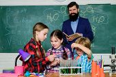 Medical Team. Doing Experiments With Liquids In Chemistry Lab. Chemistry Lab. Happy Children Teacher poster