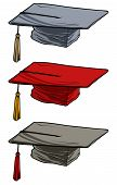 Cartoon Colorful Academic Graduation Mortarboard Square Cap. Isolated On White Background. Vector Ic poster