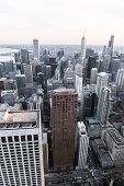 Chicago. Aerial View Of Chicago Downtown From High Above. Superimposed Cold Tone Filter. Vertical La poster