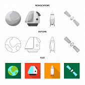 Isolated Object Of Mars And Space Sign. Set Of Mars And Planet Stock Bitmap Illustration. poster