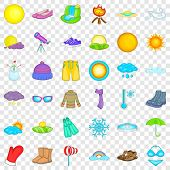 Summer Weather Icons Set. Cartoon Style Of 36 Summer Weather Icons For Web For Any Design poster