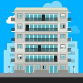 Apartment Building And City Illustration. Urban Family Home Classic Building Vector Illustration. Ap poster